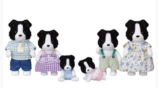 SYLVANIAN FAMILIES BORDER COLLIE FAMILY WITH TWINS