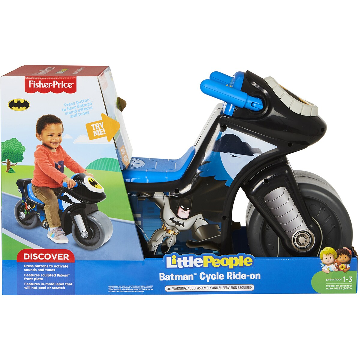 FISHER PRICE LITTLE PEOPLE BATMAN CYCLE RIDE ON