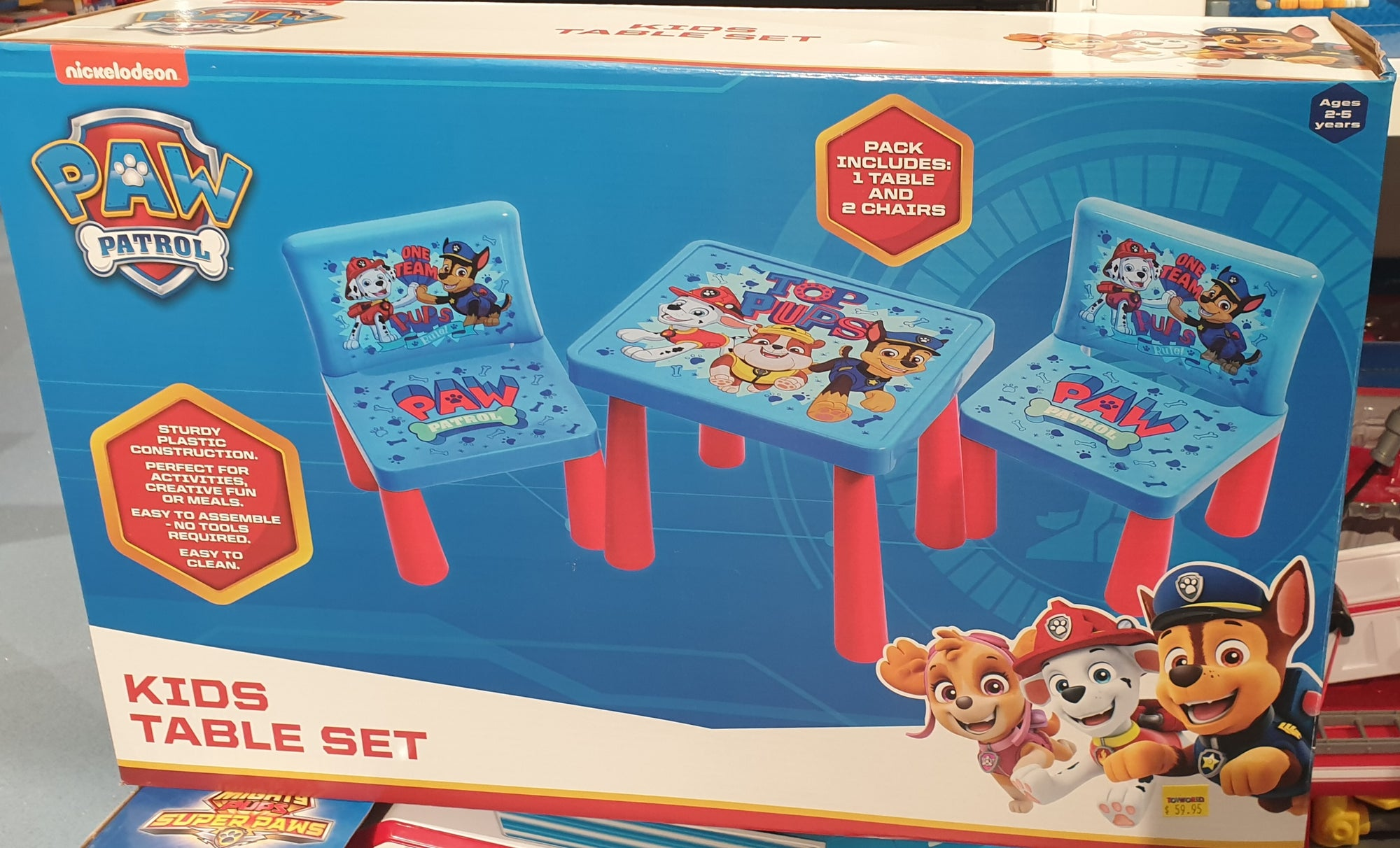 PAW PATROL PLASTIC TABLE & 2 CHAIRS