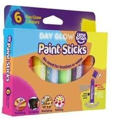 LITTLE BRIAN PAINT STICKS - DAY GLOW 6 PK | LITTLE BRIAN PAINT STICKS | Toyworld Frankston