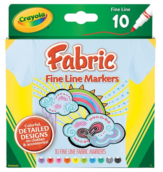 10 FABRIC MARKERS FINE LINE | CRAYOLA | Toyworld Frankston