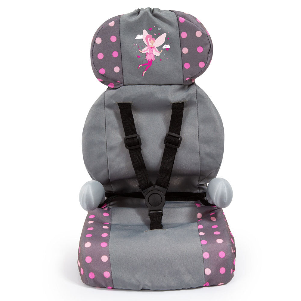 DOLLS CAR BOOSTER SEAT GREY & PINK WITH FAIRY