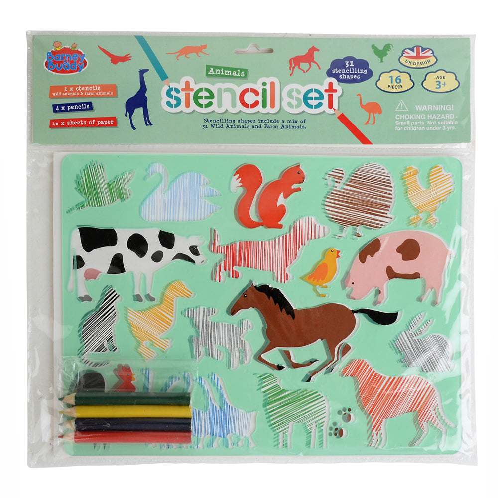 STENCIL AND PENCIL DOUBLE PACK ANIMALS