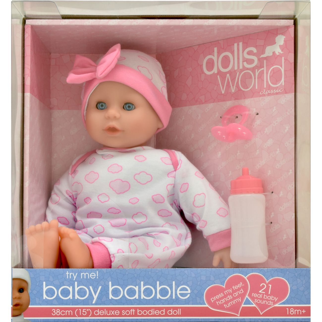 DOLLSWORLD BABY BABBLE 38CM WITH 21 SOUNDS