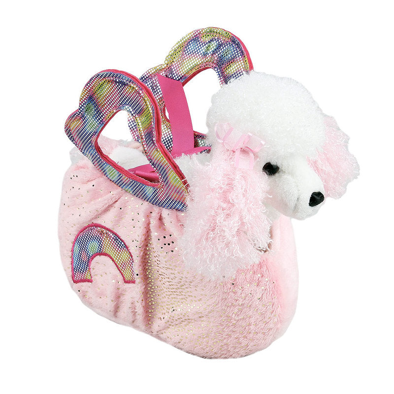 POODLE IN PINK RAINBOW BAG