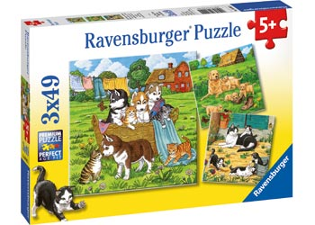 RAVENSBURGER CATS AND DOGS 3X49PC PUZZLE | RAVENSBURGER | Toyworld Frankston