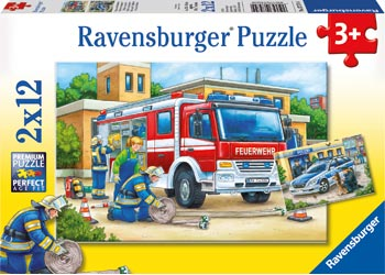 RAVENSBURGER POLICE AND FIREFIGHTERS 2X12PC PUZZLE | RAVENSBURGER | Toyworld Frankston
