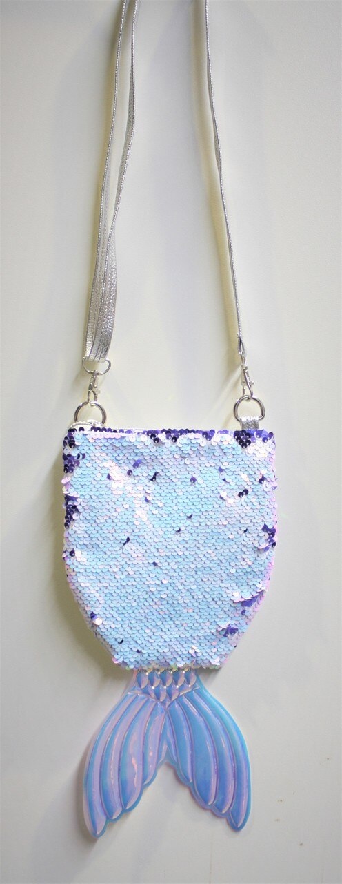 WHITE SEQUIN MERMAID TAIL BAG