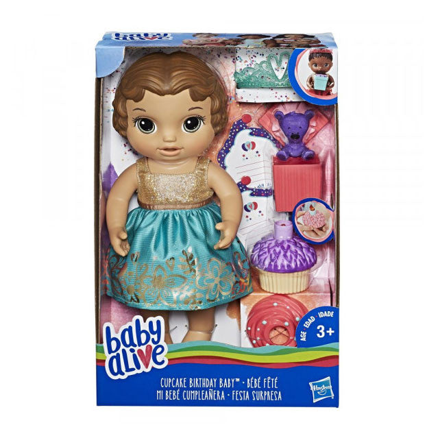 BABY ALIVE CUPCAKE BIRTHDAY BABY - BROWN HAIR | BABY ALIVE | Toyworld Frankston