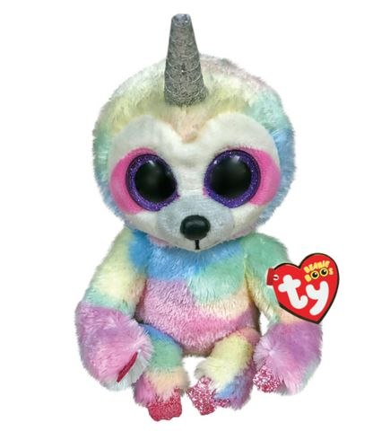 BEANIE BOOS MEDIUM COOPER SLOTH WITH HORN | TY BEANIES | Toyworld Frankston