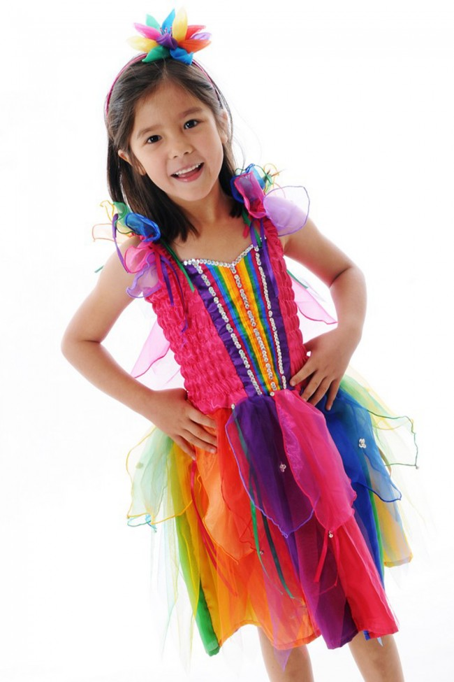 RIBBON FAIRY DRESS RAINBOW LARGE