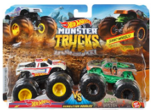 HW MONSTER TRUCKS 1:64 DEMO DOUBLES 2-PK AST | HOT WHEELS | Toyworld Frankston
