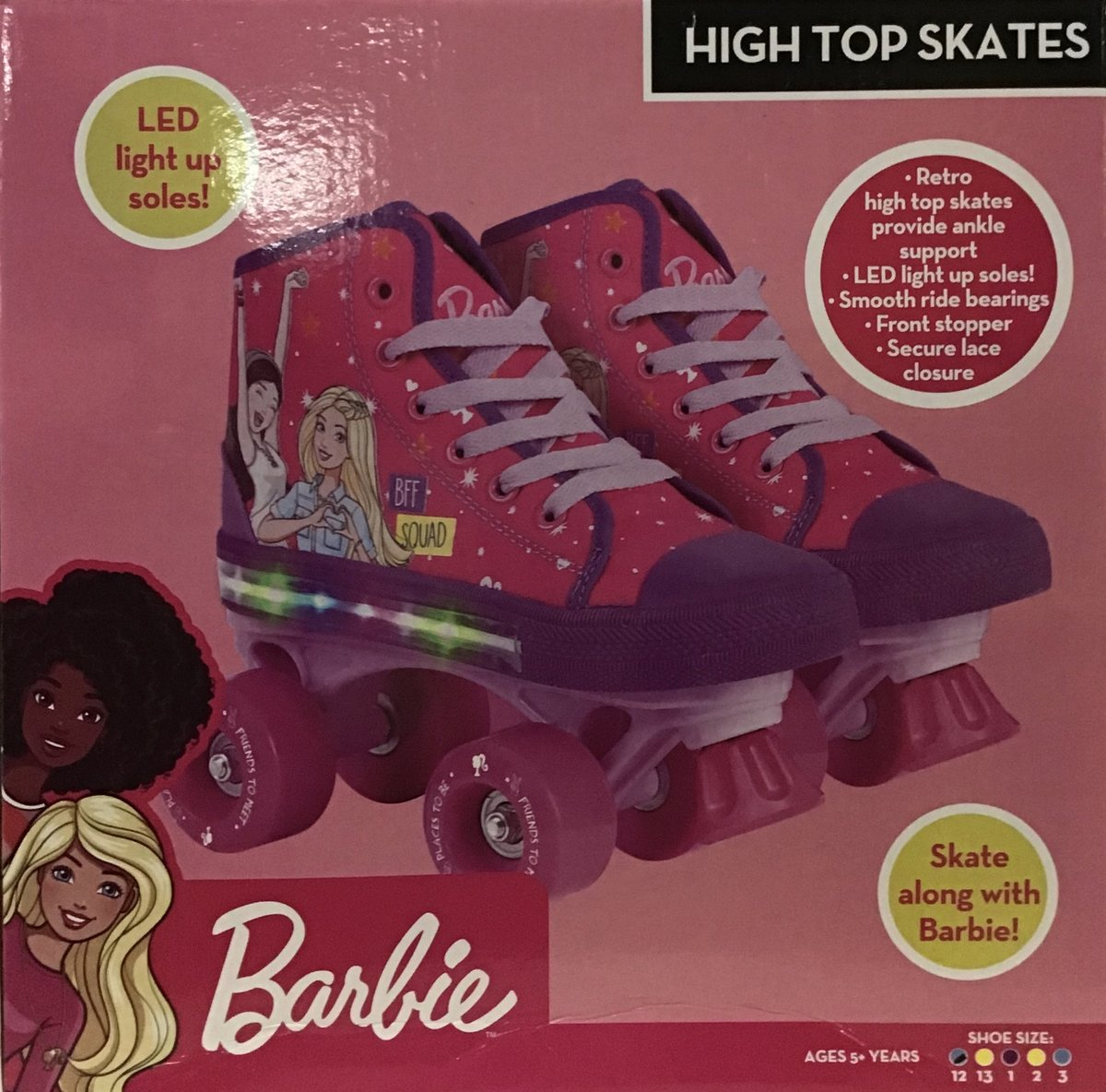 BARBIE LIGHT UP ROLLER SKATE - EXCL 12-13-1-2-3