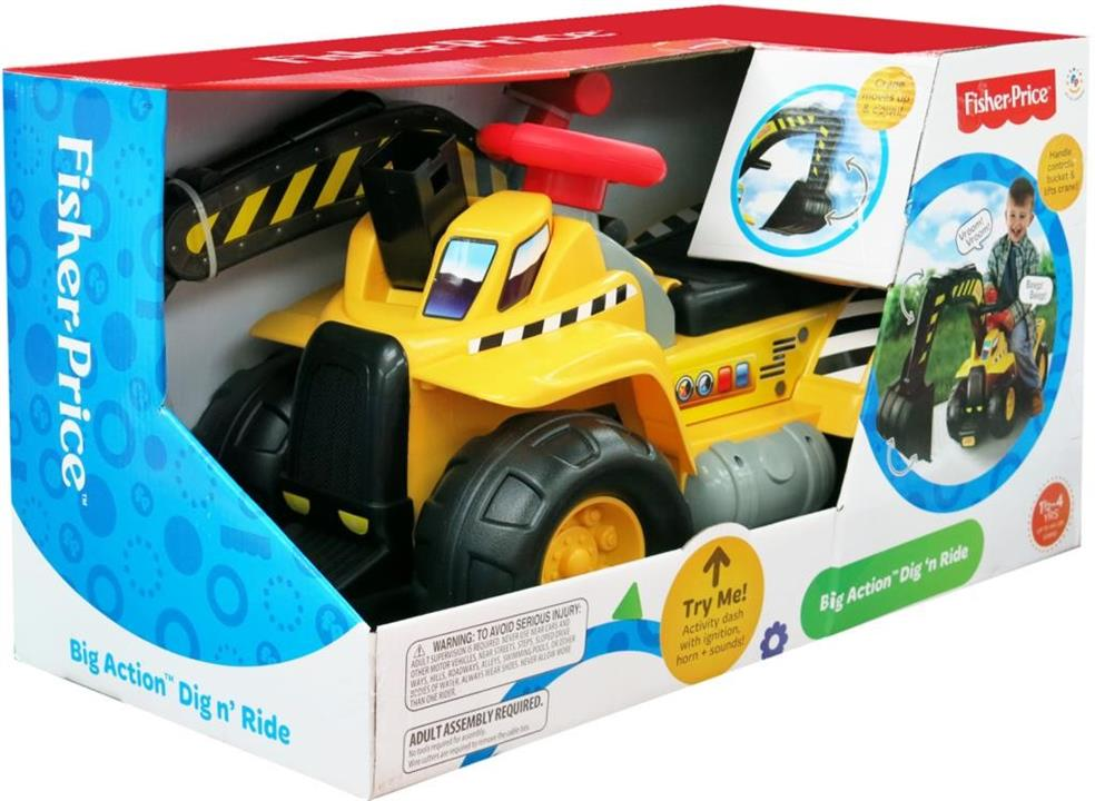 FISHER PRICE ACTION DIG N RIDE W/CRANE
