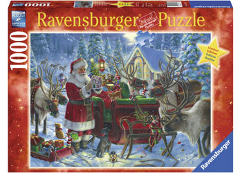 RAVENSBURGER - XMAS PACKING THE SLEIGH PUZ 1000PC | RAVENSBURGER | Toyworld Frankston
