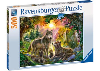 RAVENSBURGER - WOLF FAMILY IN SUNSHINE PUZZLE 500PC | RAVENSBURGER | Toyworld Frankston