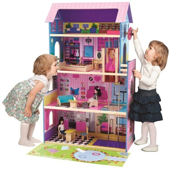 WOODEN DOLLHOUSE WITH ELEVATOR & FURNITURE