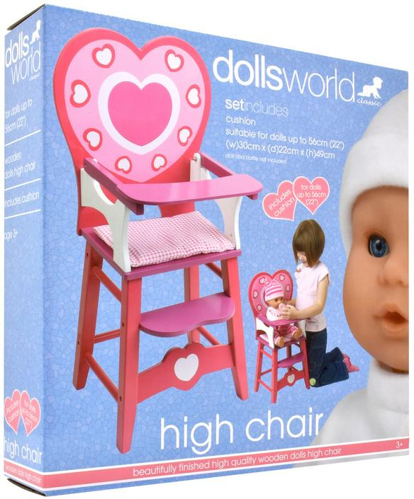 DOLLSWORLD WOODEN HIGH CHAIR