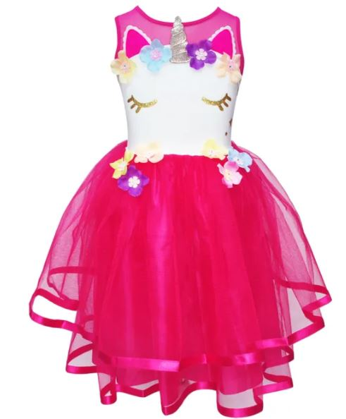 UNICORN DRESS SIZE 3/4 HOT PINK