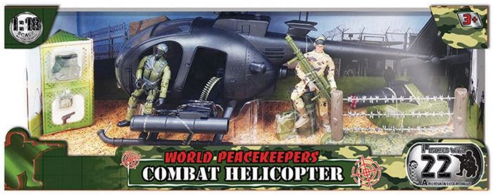 WORLD PEACEKEEPERS COMBAT HELICOPTER WITH 2 FIGURES