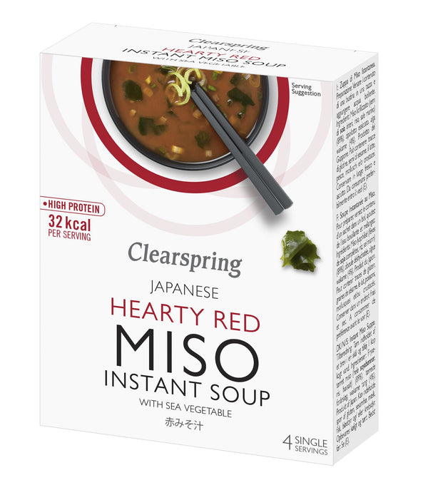 Japanese Instant Miso Soup - Hearty Red With Sea Veg (4x10G)