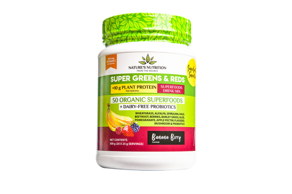 Super Greens & Reds 50 Organic Superfoods Probiotic Blend - Banana Berry (500G)