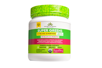 Super Greens & Reds 50 Organic Superfoods Probiotic Blend - Natural Berry (360G)