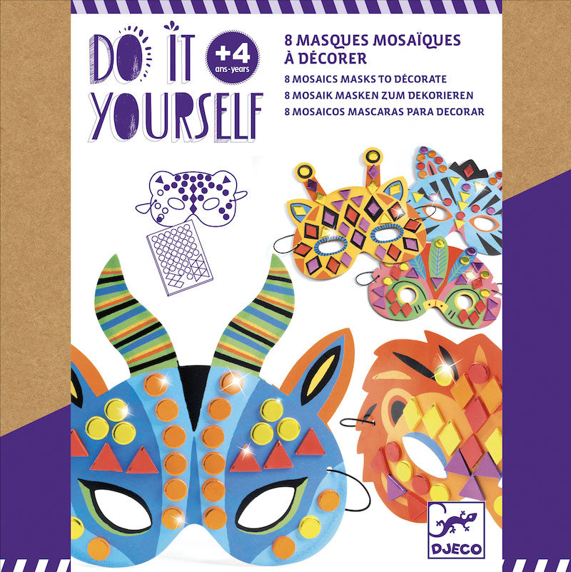DIY Jungle Animal Mosaic Masks