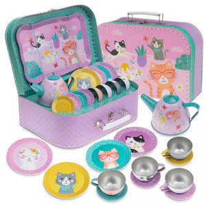 15pc. Cat Tin Tea Set