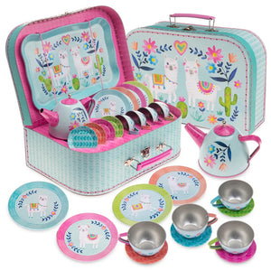15pc. Llama Tin Tea Set