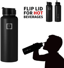 Load image into Gallery viewer, Water Bottle - Non Toxic - 3 Lids, Stainless Steel, Hot Cold, Double Walled