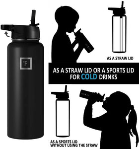 Water Bottle - Non Toxic - 3 Lids, Stainless Steel, Hot Cold, Double Walled