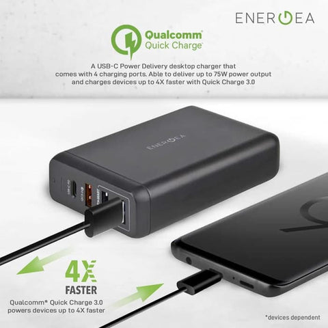 Charger Energea Powerhub 4PD USB C QC3.0 Desktop Charger 75W