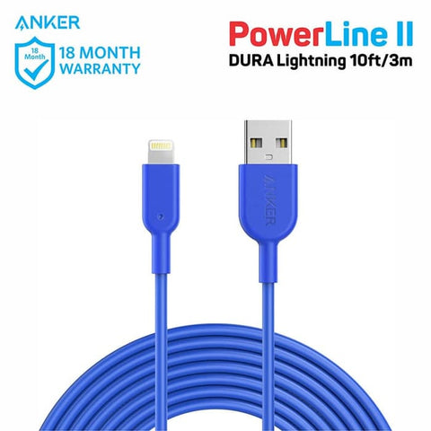 Kabel Charger Anker PowerLine DURA II Lightning 10ft Blue - A8434H31