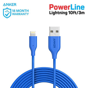 Kabel Charger Anker PowerLine Lightning 10Ft Blue - A8113031