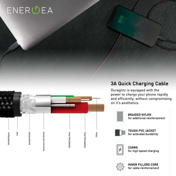 Kabel Charger Energea Duraglitz USB-A to Lightning 18cm