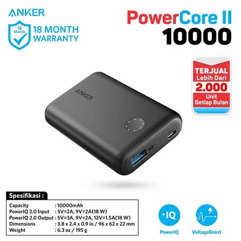 PowerBank Anker PowerCore II 10000 mAh Quick Charge 3.0 Black - A1230H11