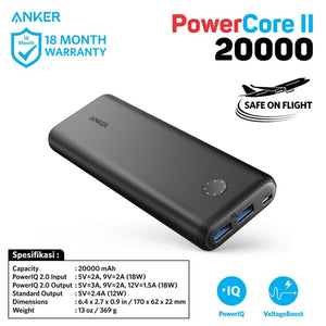 PowerBank Anker PowerCore II 20000 mAh Quick Charge 3.0 - A1260H11