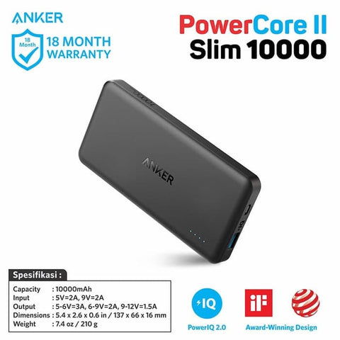 PowerBank Anker PowerCore II Slim 10000 mAh - A1261H11