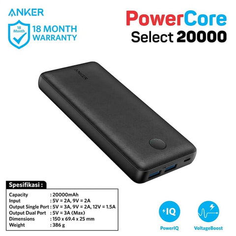 PowerBank Anker PowerCore Select 20000 mAh - A1363H11