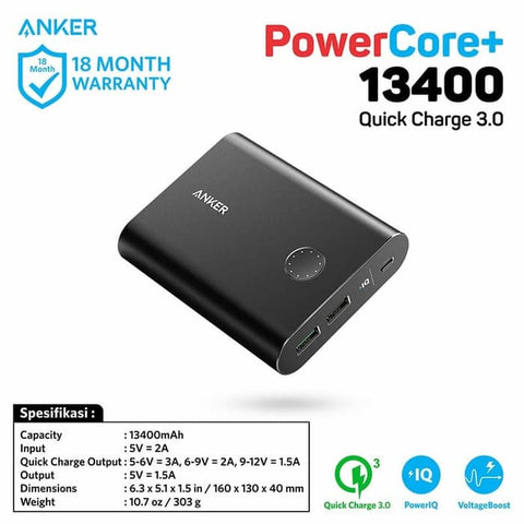 PowerBank Anker PowerCore+ 13400 mAh Quick Charge 3.0 Black - A1316H11