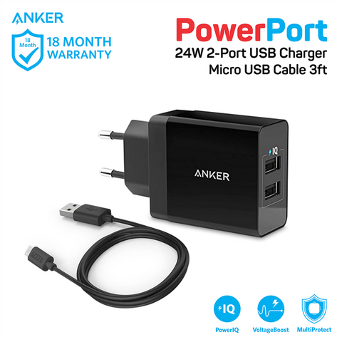 Charger Anker PowerPort 2 & 3ft/0.9m Micro USB Black - B2021L21