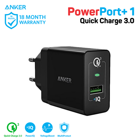 Charger Anker PowerPort+ 1 Quick Charge 3.0 Black - A2013L11