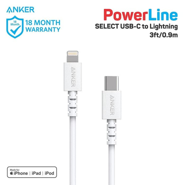 Kabel Charger Anker PowerLine Select C to Lightning 3Ft - A8612