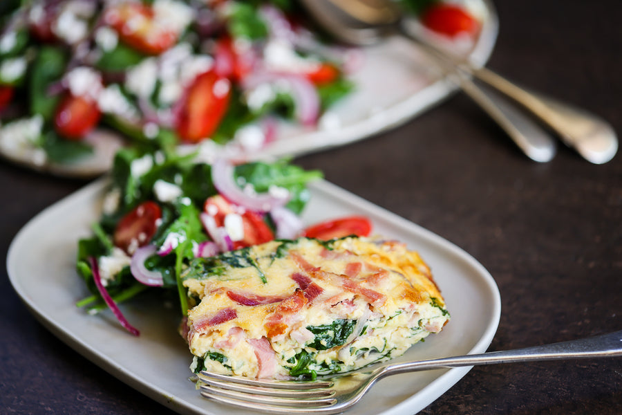 Ham, Red Onion & Spinach Frittata