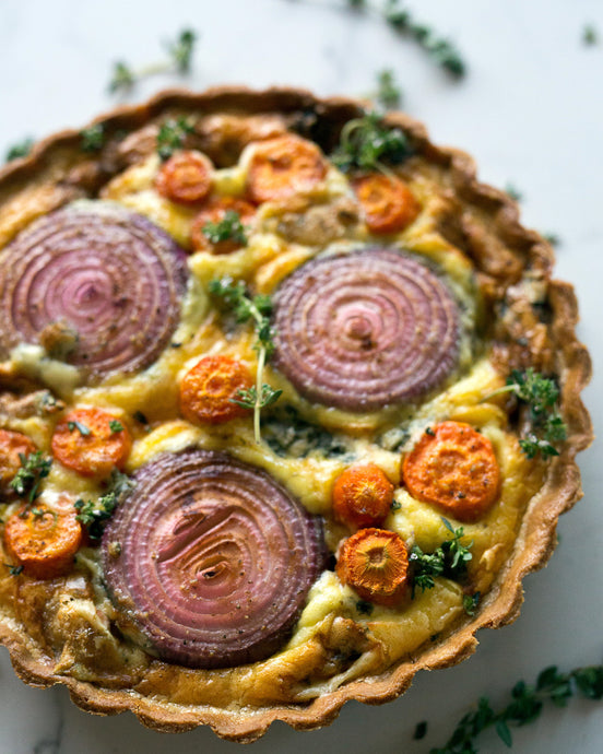 Carrot, red onion & feta tart