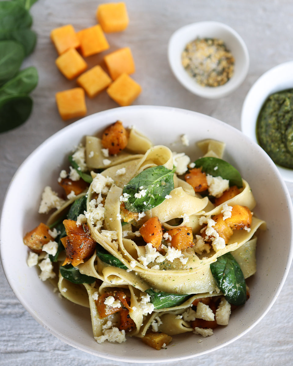 Garlic Roasted Pumpkin and spinach pasta