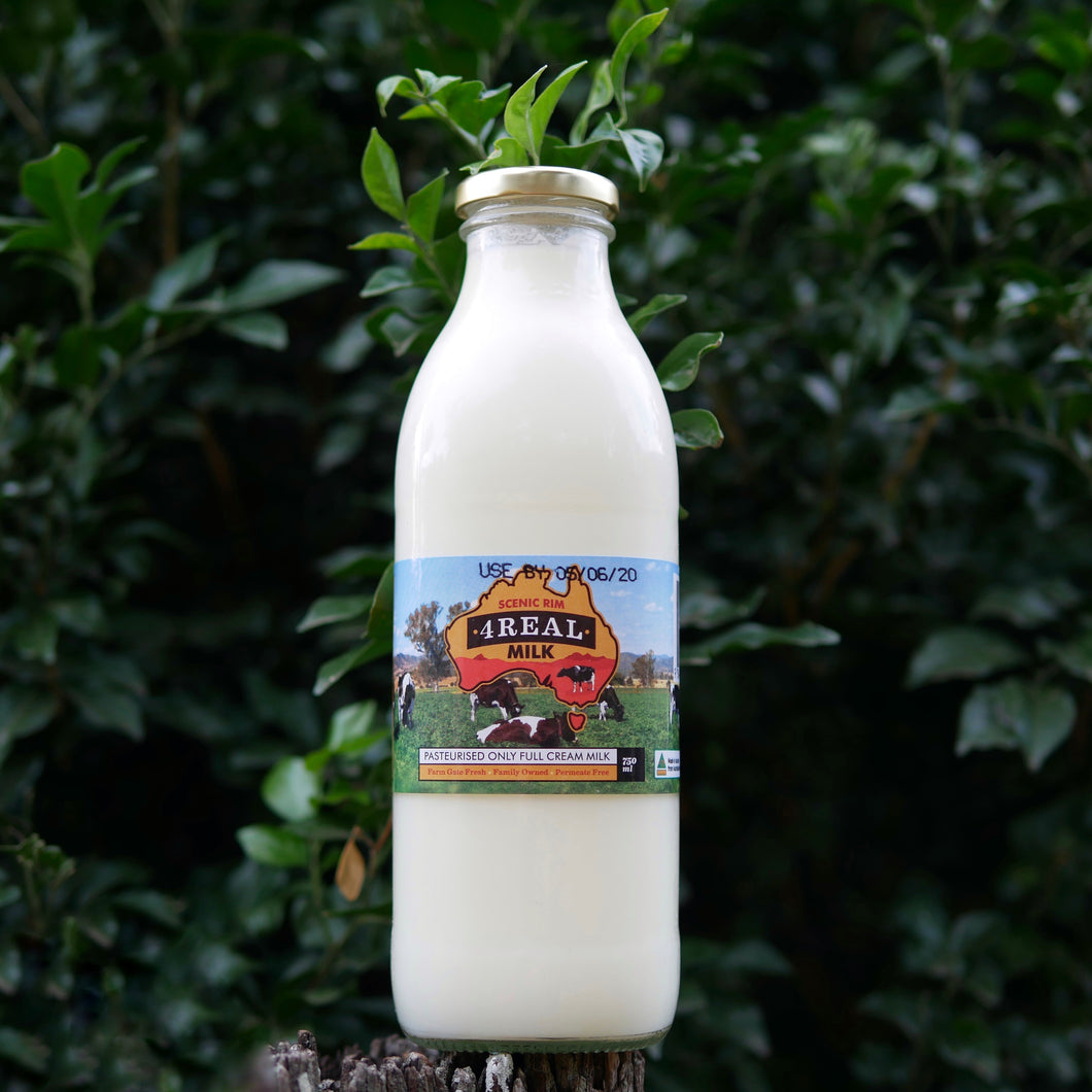 Scenic Rim 4Real Milk 750ml glass bottle