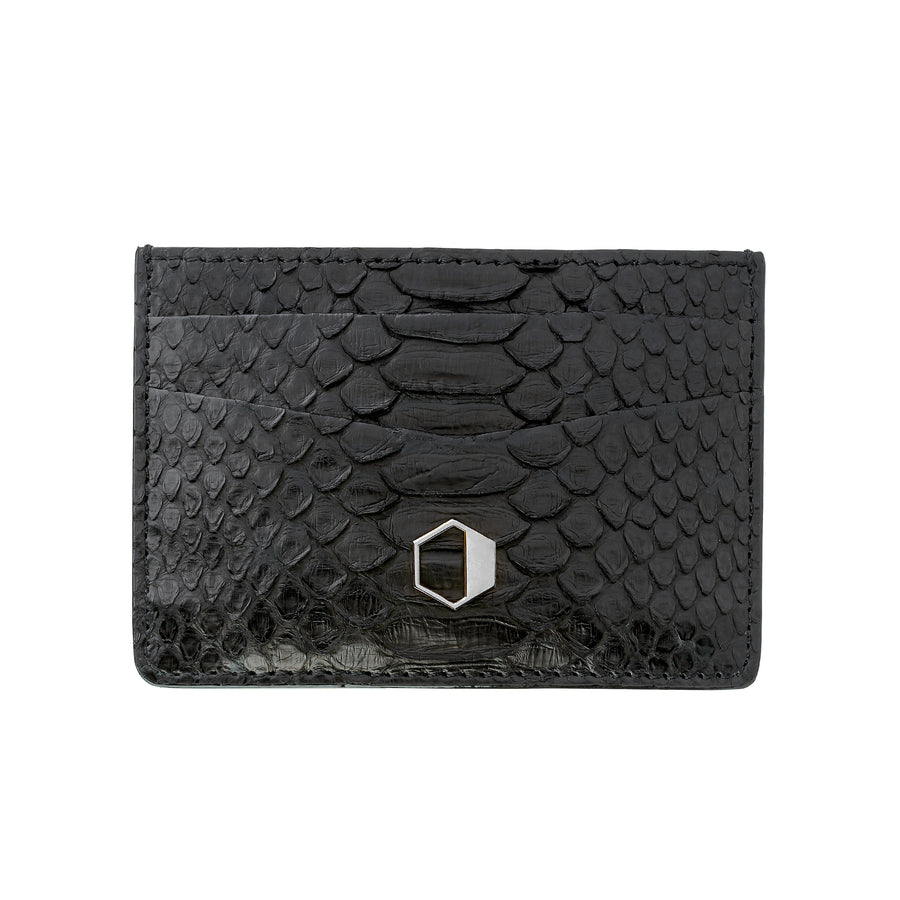 Black Python Skin Credit Card Holder