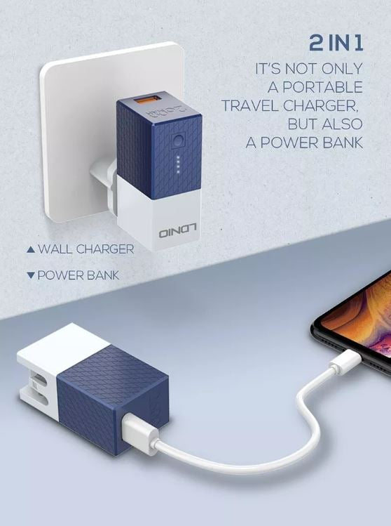 Cargador de Pared Power Bank LDNIO 2600 mAh Multifuncional